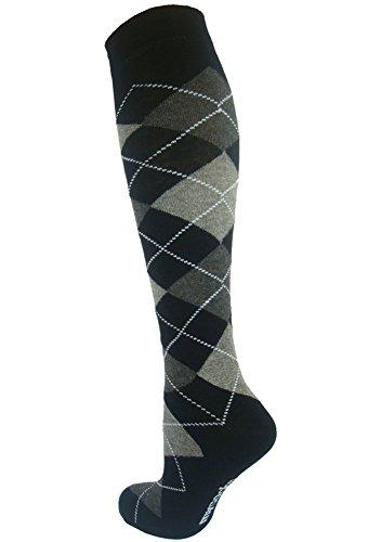 Mysocks Unisex Knee High Long Socks Argyle Black Dark Anthracite White Line
