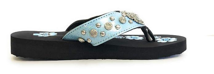 a0465d55747f Amazon.com  Montana West Flip Flops Sandal Shiny Straps Crystals Floral  Concho Blue  Shoes