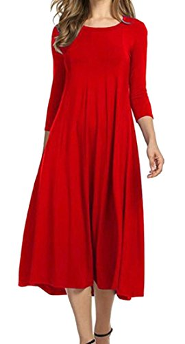 Swing Pleated L Midi Crewneck Red 4 3 Women's Cromoncent Dress Plain Sleeve wqAY4nfx
