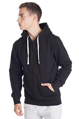 Fleece Factory Mens Zip up Sweatshirt Hoodie with Fashion Fit, Black, Large
