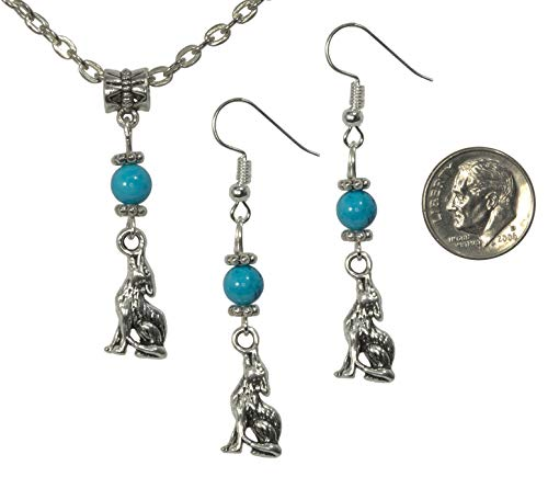 Set, Turquoise Magnesite Gemstone with Coyote Pendant and Earring + FREE CHAIN+FREE GIFT BAG