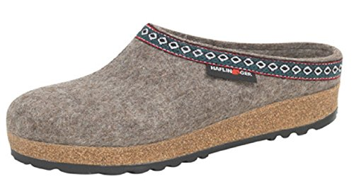 HAFLINGER GZ63 Classic Wool Grizzly Clog Earth (Unisex) (45 EU) ()
