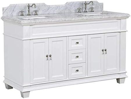 Elizabeth 60 Inch Double Bathroom Vanity Carrara White Includes White Cabinet With Authentic Italian Carrara Marble Countertop And White Ceramic Sinks Amazon Com
