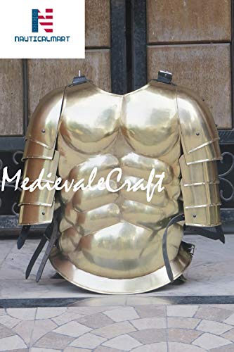 MedievaleCraft Antique Brass Roman Muscle Armor with Pauldron Collectible Greek -