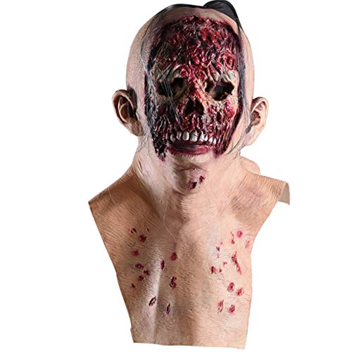 Ss Halloween Mask Zombie Bald Tyrant Rotten Face Latex Mask Biohazard Horror Vampire Wig with Hair Clothing Party Props Latex Masquerade Props Easter]()