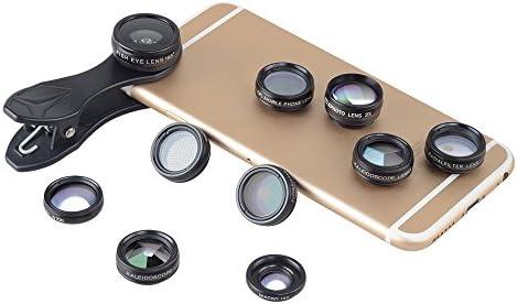 DDS Teléfono Kit de Lentes-Universal 10 en 1, Ojo de Pez/Gran Angular/Macro Lente/CPL Filtro del caleidoscopio + 2X Telescopio Lente Smartphone: Amazon.es: Hogar