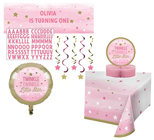 Twinkle Twinkle Little Star Girl Themed Party Supplies Decorations - Bundle Includes Customizable Banner, Danglers, Foil Balloon, Centerpiece, and Tablecover in Pink and Gold
