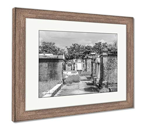 (Ashley Framed Prints Lafayette Cemetery in New Orleans with Historic Grave Stones, Wall Art Home Decoration, Black/White, 34x40 (Frame Size), Rustic Barn Wood Frame,)