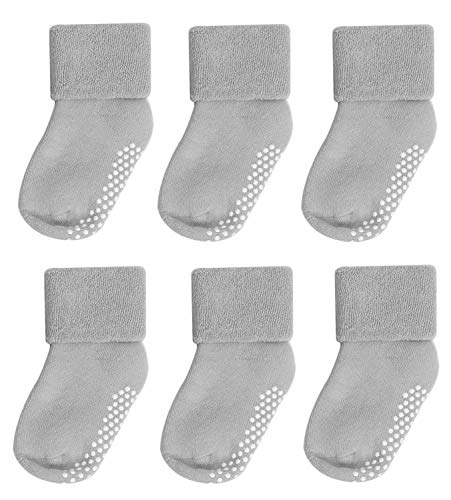 - Newborn Socks,Mossio 6 Piece Autumn Casual Ruffled Slipper Socks 0-12 Months Grey
