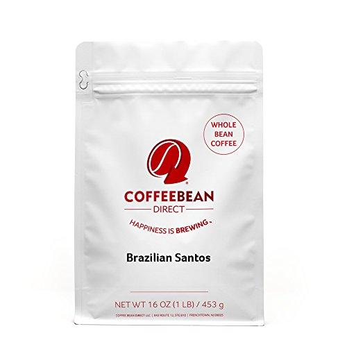 Coffee Bean Direct Brazilian Santos, Whole Bean Coffee, 16-Ounce Bags (Pack of 3)