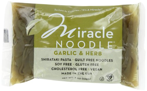 Miracle Noodle Garlic and Herb Shirataki Noodles, 7 oz (Pack of 6), Fettucine Pasta, Low Carbs, Low Calorie, Gluten Free, Soy Free, Keto Friendly