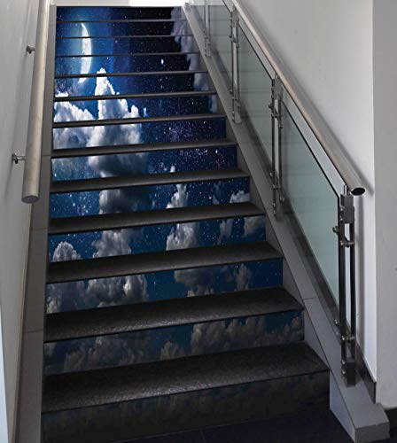 Stair Stickers Wall Stickers,13 PCS Self-adhesive,Clouds,Celestial Solar Night Scene Stars Moon and Clouds Heaven Place in Cosmos Theme,Dark Blue White,Stair Riser Decal for Living Room, Hall, Kids Ro by SCOCICI