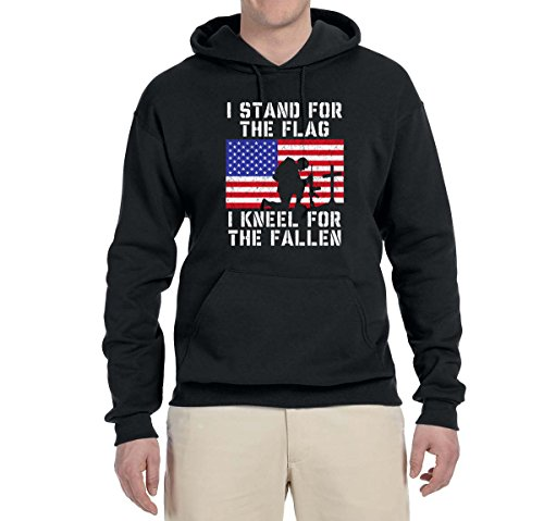 I Stand for The Flag I Kneel for The Fallen   Mens Americana/American Pride Hooded Sweatshirt Graphic Hoodie, Black, -