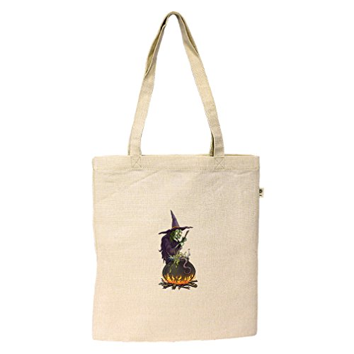 Witch Cauldron Handbag (Flat Market Tote Hemp/Cotton Witch Cooking On Her Cauldron #1 By Style In Print)
