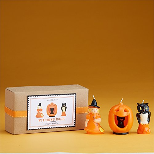 Halloween Retro Sculpted Candles 3pc Set with Witch Cat Owl By Two's (Sculpted Halloween Candles)