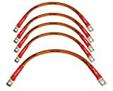 EZ GO MED Golf Cart Battery Cable 5 Piece Kit 4-AWG (4) 9''+(1) 12'' 4 Gauge Battery Interconnect Link Cable 100% OFC Copper with 5/16'' Hole Ring Terminal Ends and Heat-Shrink. Made in USA