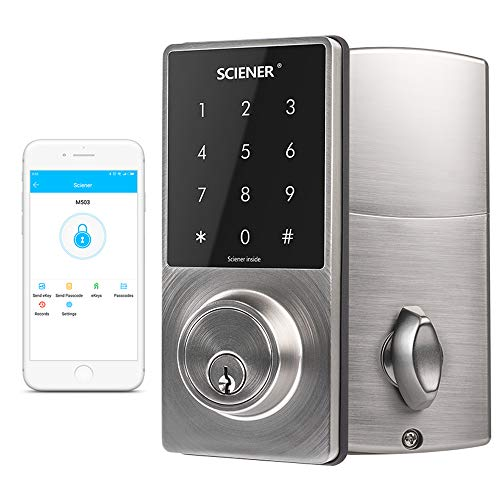 Sciener Digital Smart Lock, Bluetooth Enabled APP Touchscreen Keyless Entry Door Lock, Easy to Install,Silver