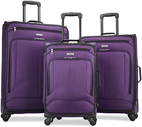 American Tourister Pop Max Softside Luggage with Spinner Wheels, Purple, 3-Piece Set (21/25/29)