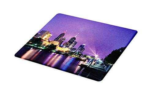 - Lunarable Australia Cutting Board, Melbourne Night Urban Mega City Modern Architecture Skyscrapers Colorful Sky, Decorative Tempered Glass Cutting and Serving Board, Large Size, Multicolor