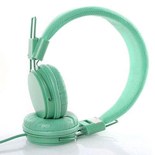 Ocamo Kids Wired Ear Headphones Stylish Headband Earphones for iPad Tablet Green