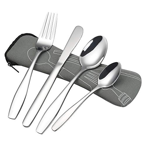 Ortodayes 4 Pieces Travel Flatware Set for 1, Stainless Steel Travel Cutlery Set