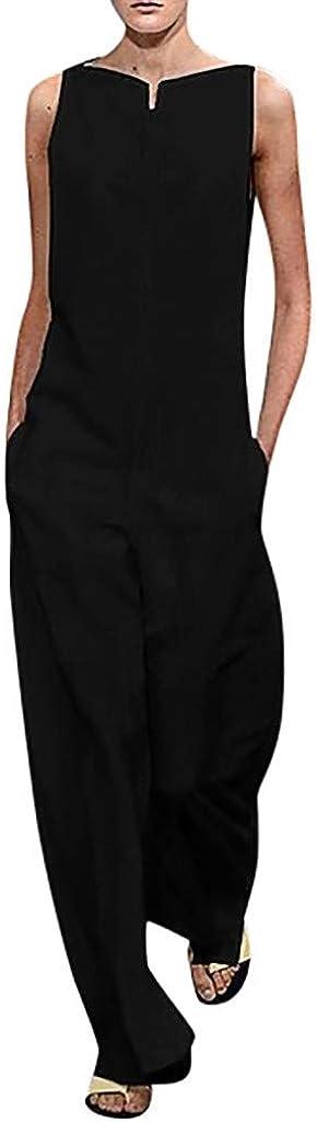 RISTHY Mujer Monos Jumpsuits de Escotado por Detrás Monos Sin Mangas Pantalones Anchos Sólido Playsuit Pantalones de Lino Elegante de Fiesta de Noche