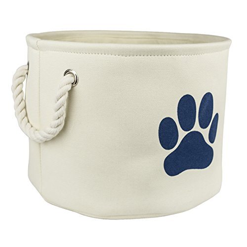 """DII Bone Dry Medium Round Pet Toy and Accessory Storage Bin, 14.5""""(Dia)x12""""(H), Collapsible Organizer Storage Basket for Home Décor, Pet Toy, Blankets, Leashes and Food-White with Blue Paw"""