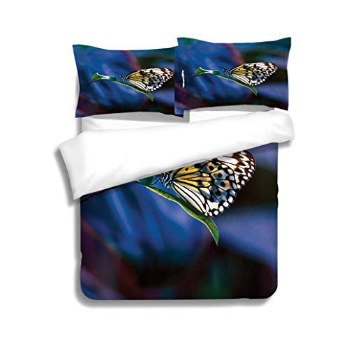 MTSJTliangwan Family Bed Paper Kite Butterfly on Leaf 3 Piece Bedding Set with Pillow Shams, Queen/Full, Dark Orange White Teal Coral