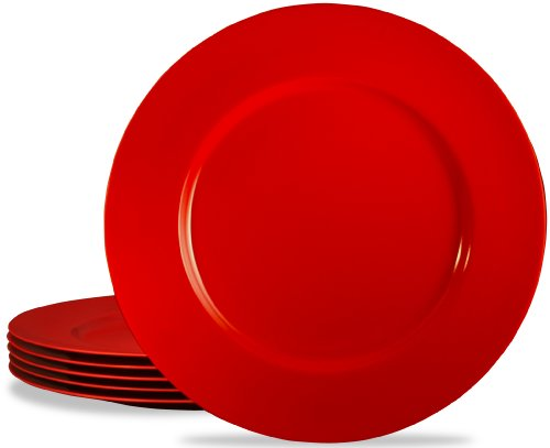Calypso Basics by Reston Lloyd Melamine Salad Plate, Set of 6, Red (Red Plates Set)