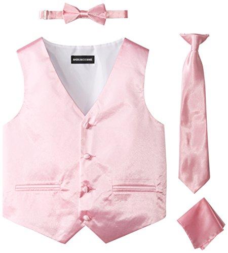 American Exchange Big Boys' Boys Satin 4 Piece Vest Set, Pink, 8]()