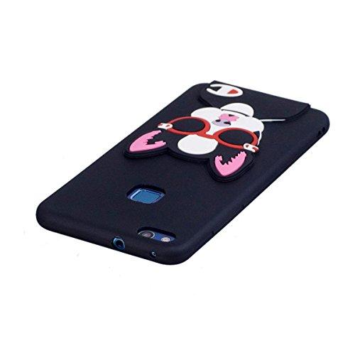 Funda HuaWei P10 Lite Silicona, Carcasas HuaWei P10 Lite Case Cover Dibujos Animados Flexible TPU Opaco Ultra Delgado Ultra Ligero Goma Caja Suave Gel Shock-Absorción,Anti-Arañazos y Anti-Choque Bumpe Perro en Gafas