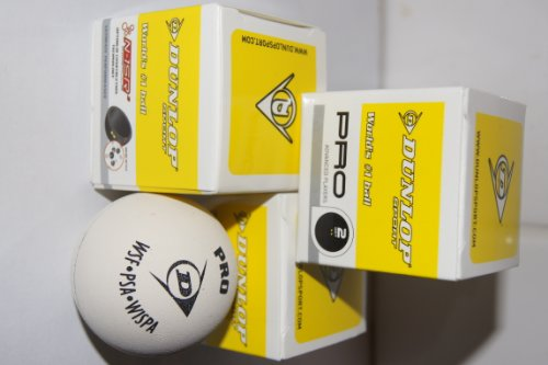 3 pack White Dunlop Pro Championship Squash Balls