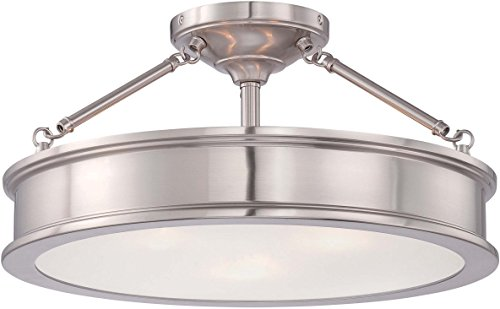 Minka Lavery Semi Flush Mount Ceiling Light 4177-84, Harbour Point Lighting Fixture, 3 Light, Nickel 11' Semi Flush Mount