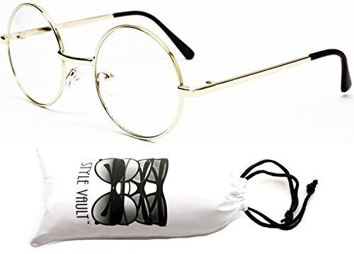 V106-vp Tiny Small Lens Round Metal Sunglasses (S2942V Gold-Clear, - Glasses Frames Old Man