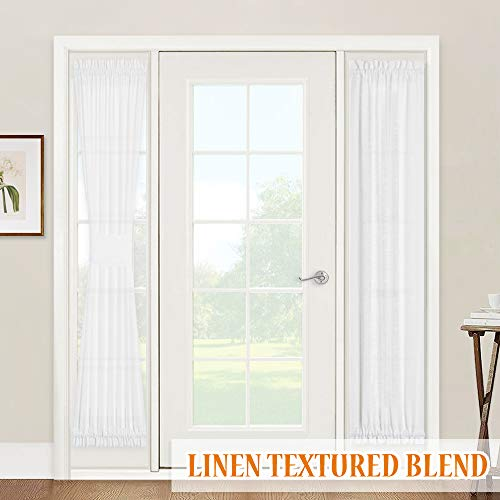 RYB HOME Window Treatments for French Doors - Linen Texture Semi Sheer Privacy Sidelight Panels Glass Door Curtains for Entry Door Front Door Foyer Window Blinds, 2 Ropes, 2 Panels, 30 x 72, White
