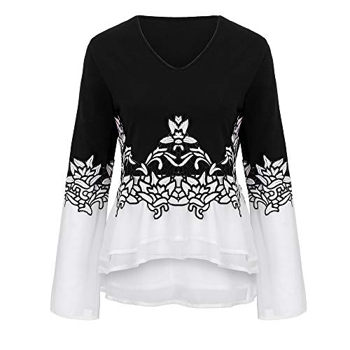 womens tops,Kulywon Women Plus Size Flower Lace Color Block Chiffion V-Neck Flare Sleeve Blouse Top(5XL/US 20,Black)