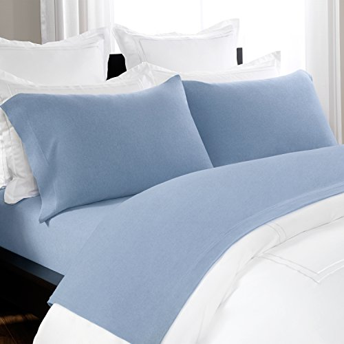 Briarwood Home Jersey Knit Sheet Set - Soft & Luxurious Cotton Bedding - 150 GSM - Breathable Bed Sheet - Deep Pocket, Comfortable, Cozy T-Shirt Soft All Season Heather Sheets (Full, Blue Chambray) (Gray Chambray Sheets)