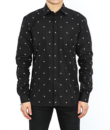 wiberlux-neil-barrett-mens-mini-cross-pattern-concealed-placket-shirt-41-black