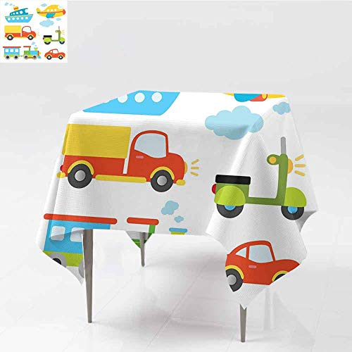 Jbgzzm Boys Square Tablecloth Abstract Transportation Types for Toddlers Car Ship Truck Scooter Train Aeroplane Picnic W50 xL50 Multicolor (Turquoise Scooter Clamp)