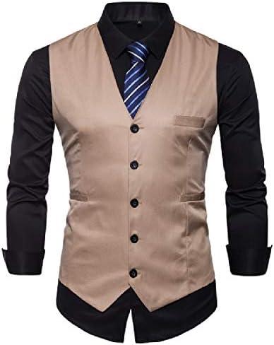 Bravepe Men Business Double Breasted Regular Fit U Collar Houndstooth Dress Suit Waistcoat Vests