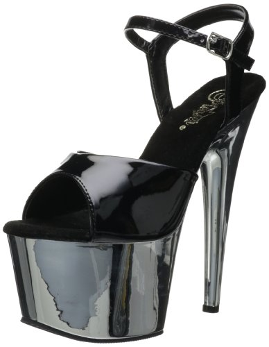 Black Sandal Women's BPU Chrome M Patent Pleaser ADO709 Silver Dress Platform 0AqwTwCZ