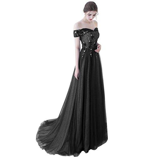Ausschnitt Schwarz Linie für 36 Langes A Ballkleider Tüll Blau Damen Elegantes Aermellos V Abendkleider OaqRRE