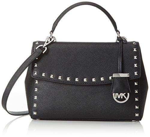 MICHAEL Michael Kors Womens Ava Leather Studded Satchel Handbag Black Small by MICHAEL Michael Kors