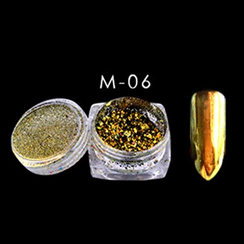 Anshinto Fingernail Powder Flakes Nail Bling Mirror Shimmer Powder Nail Art Glitter Decor (F) (Neon Fingernails)