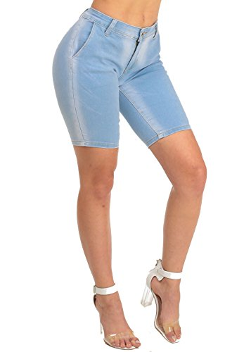 Low Rise Comfort Fit Affordable Classic Stretch Denim Bermuda Shorts 10711W for cheap