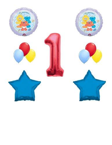 Boy 1st (FIRST) Birthday Baby Sesame Street Elmo, Big Bird, Cookie Monster Balloon Kit