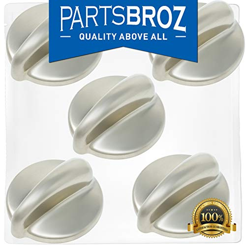 (WB03K10303 Surface Burner Control Knob for GE Stoves, Chrome Finish by PartsBroz - Replaces Part Numbers AP4980246, 1810427, AH3486484, EA3486484, PS3486484, WB03K10208 (Pack of 5))