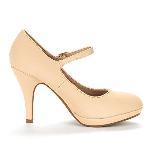 DREAM PAIRS Damen LILICA Mary-Jane Close Toe Stilleto Platform Pumps Schuhe Nackter Nubuk