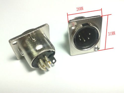 2PCS 5 pin MALE XLR Chassis Mounted Socket panel for DMX intercom headset