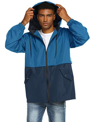 poriff Men's Outwear Raincoats Zipper Hooded Windbreaker Lightweight Running Jacket Blue M